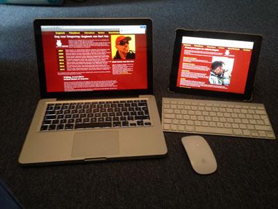 Mijn Macbook Pro en iPad met op het scherm de site tot 2015.