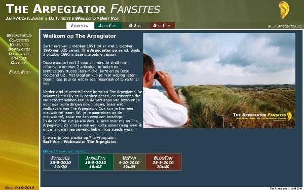 Het eerste uiterlijk van de website The Arpegiator.